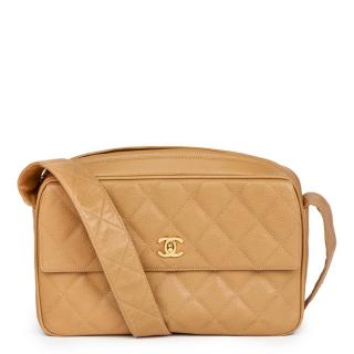 Chanel Beige Quilted Caviar Leather Vintage Classic Camera Bag