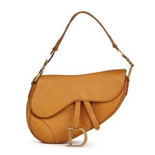 Christian Dior Tan-Brown Leather Saddle Bag