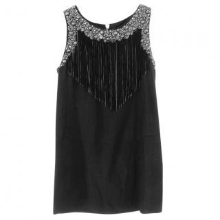 Balmain crystal-embellished fringed shift dress