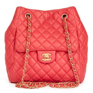 Chanel Quilted-Leather Classic Rose Bucket Bag