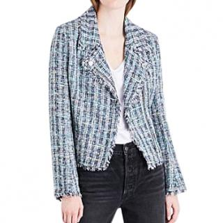 Caludie Pierlot Zip-Up Fringe Vendetta Tweed Biker Jacket