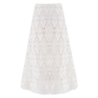 Maje Jonquille cream lace midi-skirt