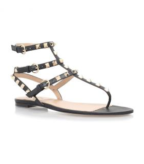 Valentino Rockstud black leather gladiator sandals