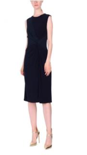 Versace Navy Twisted-Waist Sleeveless Crepe-Jersey Dress