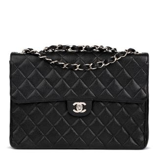 Chanel Black Quilted Caviar-Leather Jumbo Bag