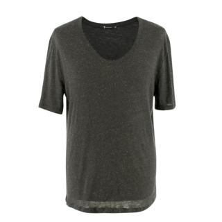 T by Alexander Wang Grey Scoop-Neck T-shirt