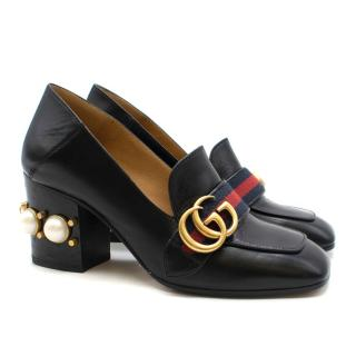Gucci pearl-heel leather loafers