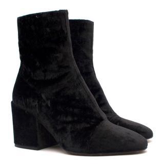 Dries Van Noten Black Velvet Ankle Boots