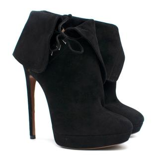 Alaia Black Suede Lace-Up Platform Ankle Boots