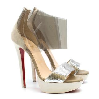 Christian Louboutin Perspex & Snake-Embossed Platform Sandals