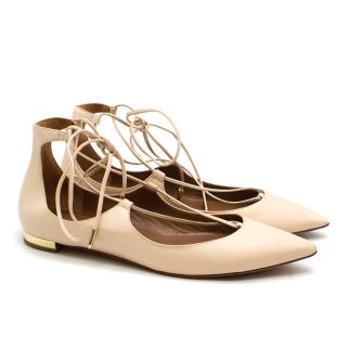 AQUAZZURA pink lace up ballet flats