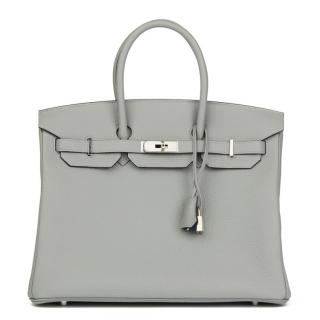 Hermes Gris Mouette & Blue Leather Verso Birkin 35cm