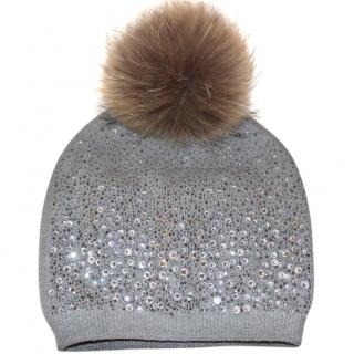 Bespoke Crystal Ebellished Wool Fur Pom Pom knitted Hat