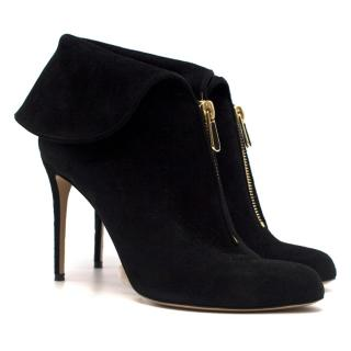 Paul Andrew Black Suede Foldover Ankle Boots