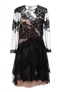 Alberta Ferretti black lace dress with contrasting silk slip