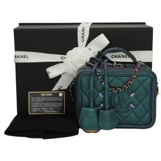CHANEL Small Iridescent Dark Turquoise Caviar Vanity Case