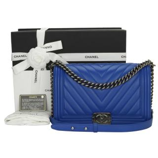 CHANEL Medium Blue Calfskin Chevron Boy Bag