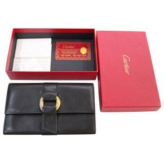 Cartier Black leather Trinity Purse Wallet