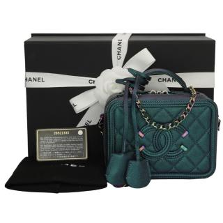 Chanel Iridescent-Turquoise Caviar Leather Small Vanity Case