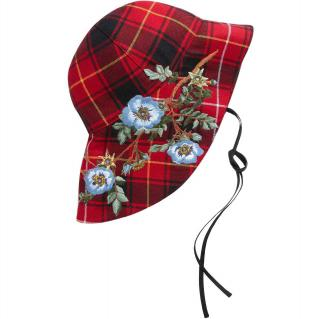 Gucci Iris-embroidered checked wool hat