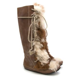 Marni Brown Leather & Fur-Panel Knee-High Lace-up Boots