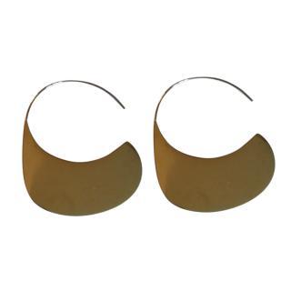 Celine Polished-Steel Hook Disc Earrings