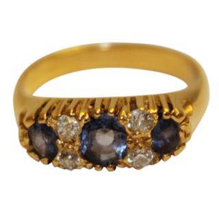 Antique Vintage Sapphire & Diamond 18ct Gold Trilogy Ring