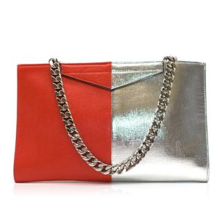 Fendi Two-tone red & silver leather clutch