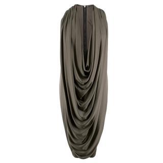 La Petite S***** Grey Draped Satin-Jersey Sleeveless Dress