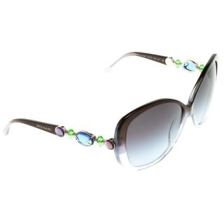Bvlgari Blue Embellished 8080-B Cat-Eye Sunglasses