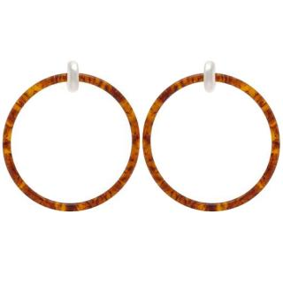 Balenciaga Tortoise Shell Large Hoop Earrings