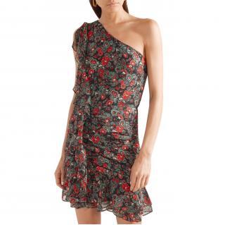 Veronica Beard Ballard One-Shoulder Runched Chiffon Dress