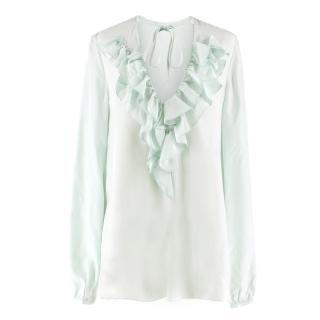 Emilio Pucci Mint Ruffle-Trimmed Silk Blouse