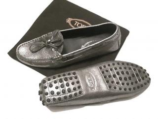 Tod's Silver Bow Leather Loafers