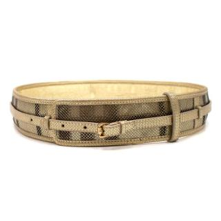 Burberry Golden-Check Perforated Leather Waist Belt