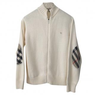 Burberry girls cream cotton-knit cardigan