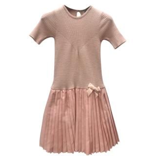 Caf girls pleated-skirt pink dress