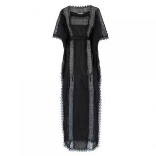 Charo Ruiz Black Lace-Trimmed Maxi Kaftan