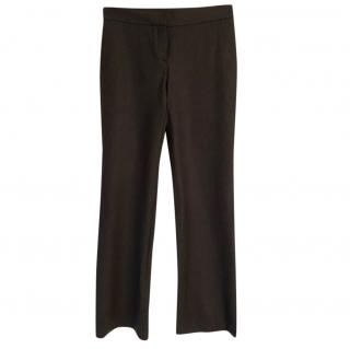 Theory wool brown stretchy subtle bootcut trousers
