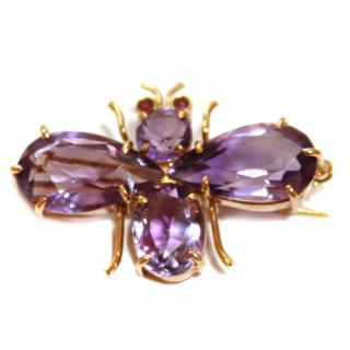 Bespoke Faceted-Amethyst & 18ct Gold Queen Bee Vintage Pin Brooch