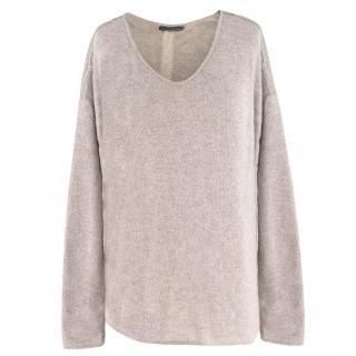 Velvet beige cashmere and wool-blend lace-trimmed sweater