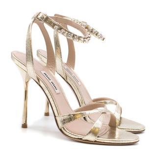 Miu Miu Crystal-Embellished Gold Leather Sandals