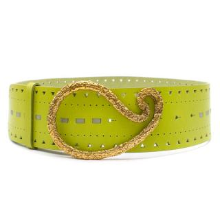 Blumarine Green Perforated-Leather Waist Belt