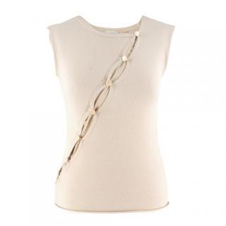 Armani collezioni chiffon-insert beige knit sleeveless top