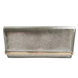 Jimmy Choo Milla Glitter leather clutch bag