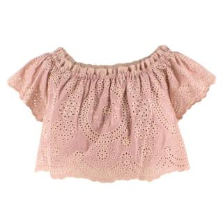 Love Shack Fancy Blush Cotton Broderie Anglaise Cropped Top