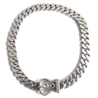 Hermes Sterling Silver 925 Belt Buckle Curb Chain Necklace