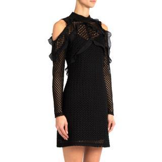 Self Portrait black guipure-lace cold-shoulder dress