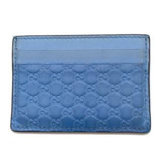 Gucci GG Embossed Light-Blue Leather Card Holder