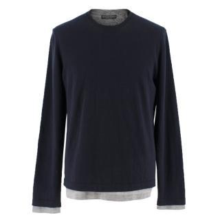 Bamford & Sons cashmere navy & grey layered sweater